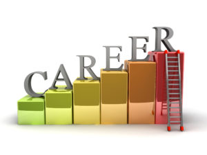 A 3d image of career ladder. Isolated on white.